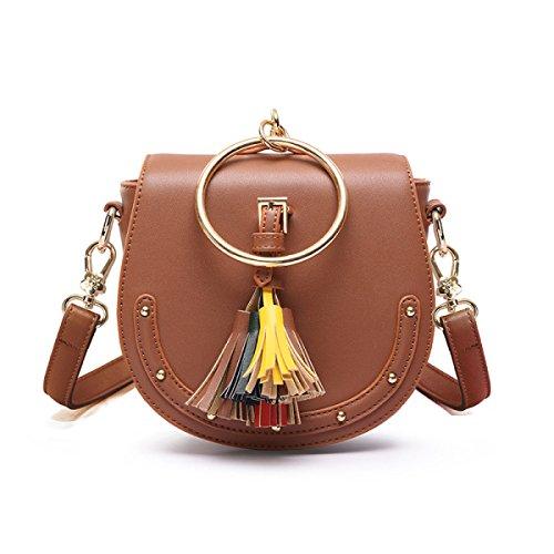 QPALZM Frauen-Ring-Handgriff-Troddel-Handtaschen-Niet-Kurierbeutel Brown