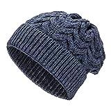 Weiche Damen Alpaka Mütze aus 100% Alpaka Wolle in 6 Farben - Hochwertige Winter Strickmütze/Beanie Wollmütze von HansaFarm, Dunkelblau - HF236, Einheitsgröße