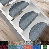 casa pura Kit de 15 marchettes d'escalier - Tapis Escalier | Nez de Marche en 11 Couleurs | Marchette Autocollante & Résistante | London - Gris Clair (19x56)...