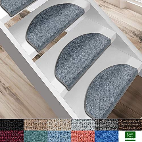 casa pura Kit de 15 marchettes d'escalier - Tapis Escalier | Nez de Marche en 11 Couleurs | Marchette Autocollante & Résistante | London - Gris Clair (25x65)
