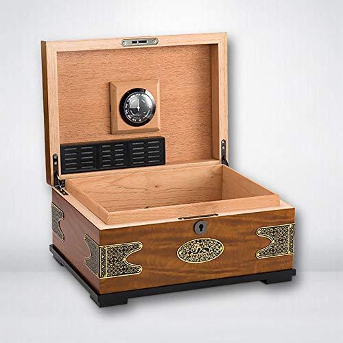 LINLIN Zedernholz zigarrenschachtel kreative antike Reine Kupfer Patch Rauchen zubehör feuchtigkeitsspendende Box 28,7 * 21,2 * 11,6 cm -