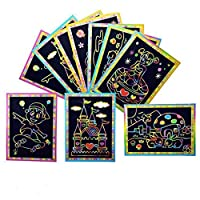 Wanjis Unusual 3/6/10pcs Lot Girls Scratch Art Painting Paper with Drawing Stick Kids Toy Gift in fine Style