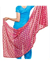 Phulakri Dupatta Beautiful Elegant Designer Phulkari Dupatta In Chiffon Fabric In Megenta Pink Colour - Phulkari...