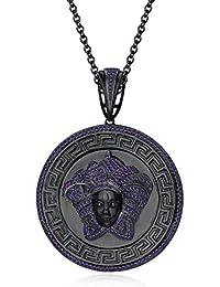 "Silvernshine 1.25 Ct Round Cut Amethyst Versa Pendant 18"" Chain In 14K Black Gold Fn 925 Silver"