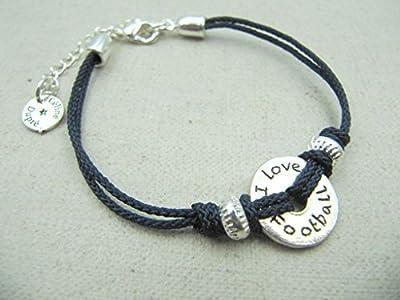 "Bracelet réglable cordon tressé""Football"" 16mm finition argent 925"