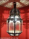 Orientalische Lampe Pendelleuchte Klar Haifa 40cm E27 Lampenfassung | Marokkanische Design Hängeleuchte Leuchte aus Marokko | Orient Lampen für Wohnzimmer Küche oder Hängend über den Esstisch