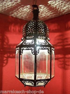 Orientalische Lampe Pendelleuchte Klar Haifa 45cm E27 Lampenfassung | Marokkanische Design Hängeleuchte Leuchte aus Marokko | Orient Lampen für Wohnzimmer Küche oder Hängend über den Esstisch