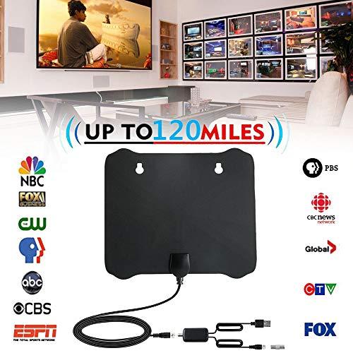 Indoor-TV-Antenne für Digitale freie Ansicht, Ultra-Thin Amplified 120 Miles Range TV Antenne HD TV Antenne für alle Arten von eingebauten Tuner Home Smart TV, Unterstützung 4K 1080P HD VHF UHF