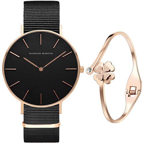 XLORDX Classic Damen-Armbanduhr Analog Quarz Schwarz Nylon Armband, 36mm Schwarz Silber Zifferblatt...