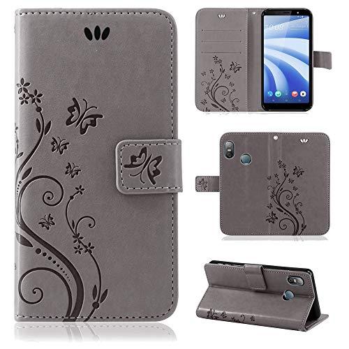 betterfon | Flower Case Handytasche Schutzhülle Blumen Klapptasche Handyhülle Handy Schale für HTC U12 Life Grau