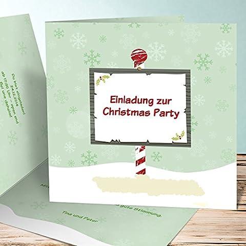 Einladungskarten Weihnachtsfeier, Hinweis 30 Karten, Quadratische Klappkarte 145x145 inkl. weiße Umschläge, Grün