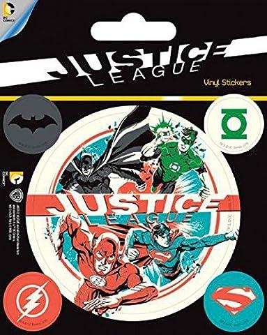 Ligue De Justice D'Amérique Poster-Sticker Autocollant - Dc Comics (12 x 10 cm)