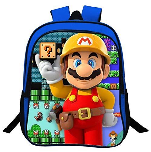 QWER Super Mario Karikatur Schule Rucksäcke Mädchen und Jungen Süß Schultaschen für 2-5 Jahre Kinder Geschenk 13 inch Blau,A
