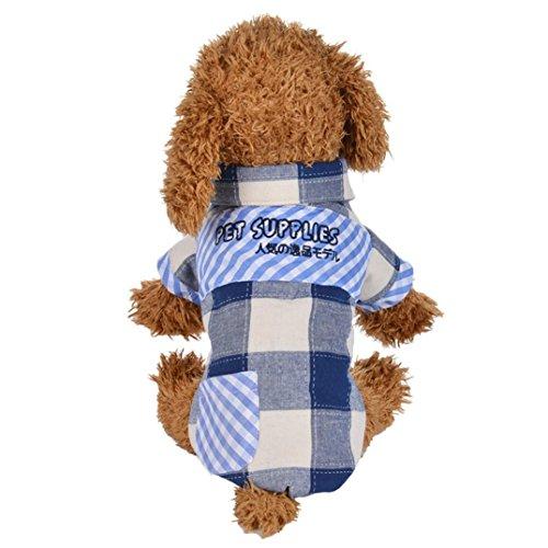 Hund Shirts SOMESUN Entzückende Winter Warm Padded Verdickung Kariertes Hemd Hund Kostüme Pet Kleidung (34cm Büste, blau) (Shirt Entzückendes)