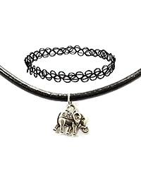 TrendsMe Auténtico Cordón Cuero Negro gargantilla con Amuleto Plata Tibetano Colgante [Elefante]