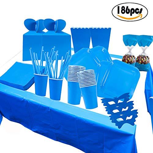 COTIGO-Set Vajilla Cumpleaños ,Platos,Vasos,Servilletas, Mantel, Bolsas de Fiesta,Pajitas,Caja de Regalo Desechables para 16 Personns Diseño Liso Color Azul