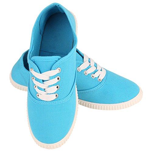 Damen Sneakers Stoff Sneaker Low Muster Basic Schuhe Animal Print Freizeit Turnschuhe Schnürer Flandell Hellblau Blue