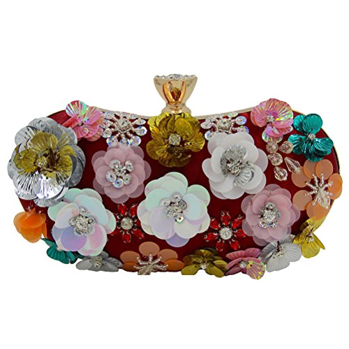 Zhhlaixing bellissime borse Flowers Beads Embroidery Evening Bags Bride Pack Handmade Ornaments Designer Handbags Gift per Donne Dark Red