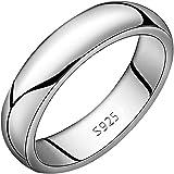 Meixao - Fede nuziale unisex in argento Sterling 925 massiccio lucido, 5 mm, misure J-Z