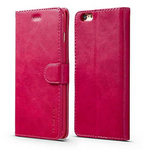 FindaGift iPhone 6 / iPhone 6s 4.7 inch Coque, Calf Grain Classique PU Cuir Étui portefeuille avec Flip Fonction stand et Machines à sous Magnetic Closure Cover Anti-drop Protecteur Gardien Case Mode  Rose vif