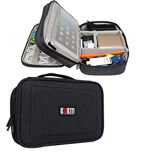 BUBM Estuche para Electrónicos Organizador de Accesesorio Bolsa de Viaje para Cables Cargador,Gadget de Memoria USB, Negro