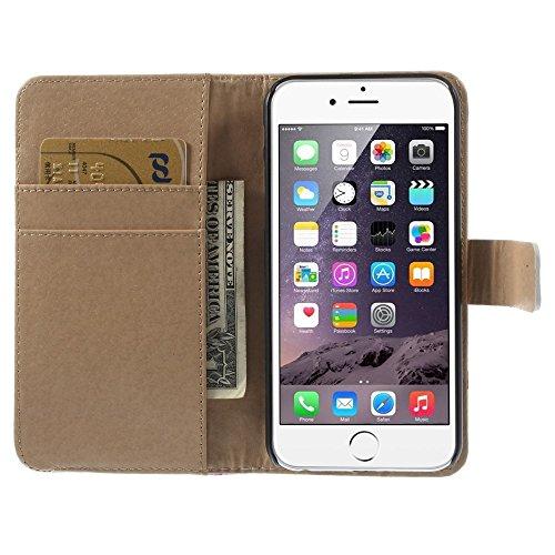 iPhone 6 6S Hülle Klapphülle von NICA, Slim Flip-Case Kunst-Leder Vegan, Phone Etui Schutzhülle, Dünne Vorne Hinten Handytasche Wallet Bumper für Apple iPhone 6S 6 - Pretty Roses Edition Stripes Edition