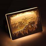 3D-Lampen-Neuheit-LED-Fernsteuerungs-USB-Stereopapier-Skulptur-Nachtlicht-große Wand