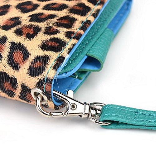 Kroo Pochette Téléphone universel Femme Portefeuille en cuir PU avec dragonne compatible avec LG Spirit Multicolore - Emerald Leopard Multicolore - Emerald Leopard