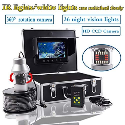 H&L 9 Inch Portable Fish Finder 360-Grad-rote und weiße Doppellampe, die mit PTZ sichtbarem Angelgerät Unterwasserfischerei-Videokamera, mit 8GB TF-Karte gedreht,200mcable