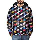 40%-60% Off!Ieason Mens Hooded Sweatshirt Winter 3D Digital Grid Printed Long Sleeve Tops Blouse