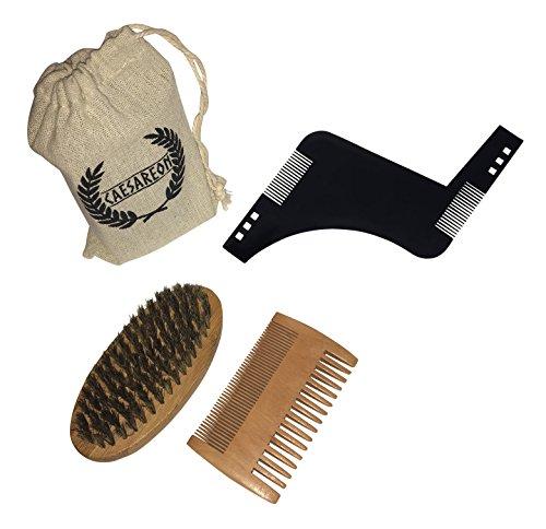 Kit d'entretien barbe professionnel Caesareon - Brosse en bambou et poils de sangliers - Peigne antistatique double face - Pochoir guide de rasage – Pour barbes courtes et longues - Cadeau pour barbus
