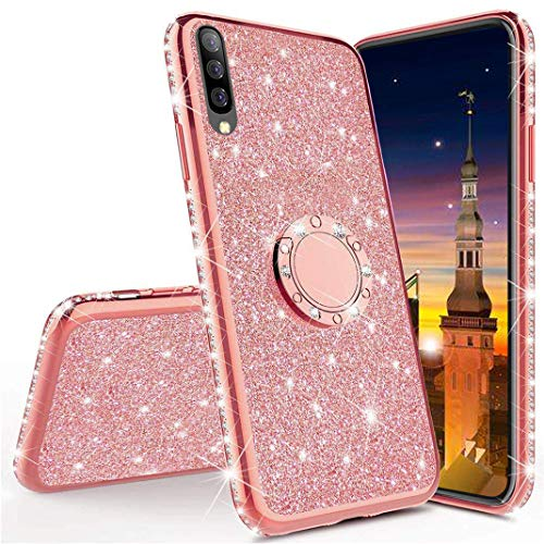 MRSTER Glitzer Hülle Kompatibel mit iPhone 7 Plus Glitzer Handyhülle Bling Glänzend Strass Diamant Schutzhülle mit 360 Grad Ring Ständer für Apple iPhone 7 Plus / 8 Plus. GS Bling TPU - Rose Gold Iphone 3 Gs Crystal