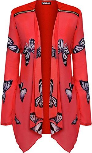 WearAll - Femmes Plus Longue Manche Mousseline De Soie Papillon Imprimer Pur Cardigan Haut - Hauts - Femmes - Tailles 42-56 Rouge