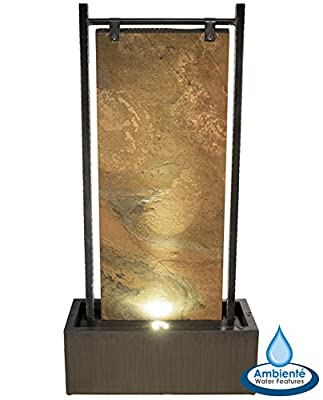 Fully Self Contained Bernoulli Zinc and Slate Wall Water Feature with LED Lights - 120cm - by Ambienté from Primrose