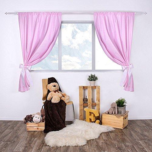 Lulando tendine per la stanza del bambino / tende infantili set (2x) con fusciacca 100% cotone, 155cm x 120cm, oeko-tex standard 100. colore: white dots / pink