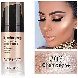 Flüssiger Leuchtmarker Cocohot Glow Illuminator Gesichtslippe erhellen Ultra Glatt Gesicht Make-up Textmarker 12ml (A3)
