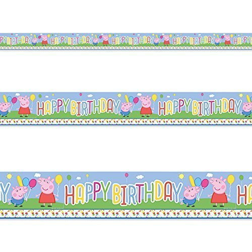 Image of Peppa Pig Cute Carnival Birthday Children's Party Foil Banner Decoration