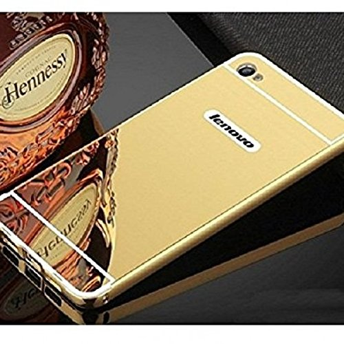 NEU SPEED HIGH QUALITY LUXURY MIRROR BACK CASE COVER WITH METAL BUMPER FOR LENOVO VIBE K5 PLUS -(GOLD)