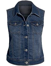 Frauen Jeans Weste Leger lässig ärmellos Knopfleiste ausgewaschener Look Plus Größen
