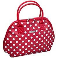 Audacity Red and White Polka Dot Handbag style Travel Toiletry Wash Bag with handles for women and girls