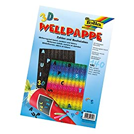 Folia-94700-3D-Welle-Stanzteile-Buchstaben-und-Zahlen-140-Stck-farbig-sortiert