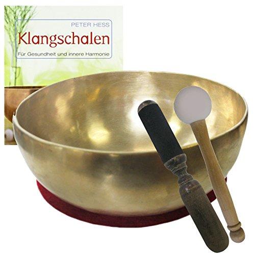 Klangschale KLEINE HERZSCHALE Therapie-Qualität 5-teiliges Klangmassage-Set + BUCH Peter Hess | Therapieklangschale 700-800g ca. 15-16 cm #70054 | Mit Kissen, Holz-Leder-Reibe- und Gummi-Klöppel.