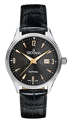 Grovana Women's Quartz Watch with Black Dial Analogue Display and Black Leather Strap 3191.1527