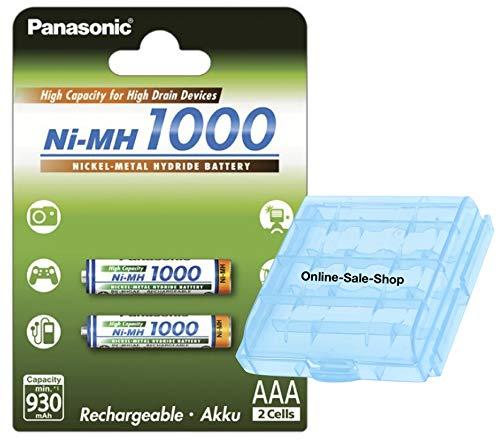 2X Panasonic AAA Akku 1000 mAh Wiederaufladbare Batterien für Siemens Gigaset Telefon A400 A415 C430 C300 A380 A385 A38H A580 A585 A58H A150 A155 A15 A340 A345 A34 AS280 AS285 AS28H inkl. OSS Akkubox