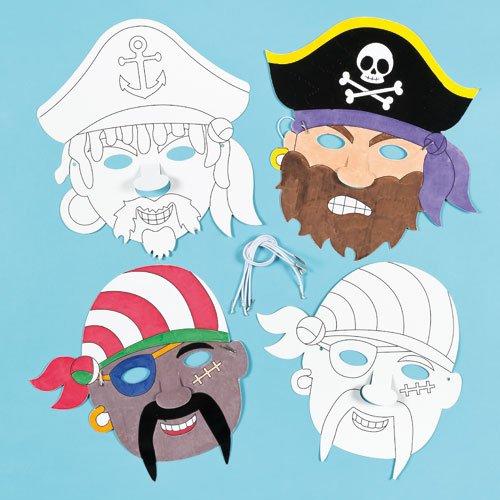 Masken zum Basteln und Ausmalen - Pirat - für Kinder ideal zum Kindergeburtstag und Karneval (6 (Maske Pirat)