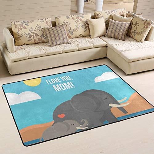 XiangHeFu Teppiche Fußmatten Sonnenuntergang Schöne Mutter Und Kind Elefant Weichen Teppich Matte 6'x4 '(72x48 Zoll) für Wohnzimmer Esszimmer Schlafzimmer Dekorativ -
