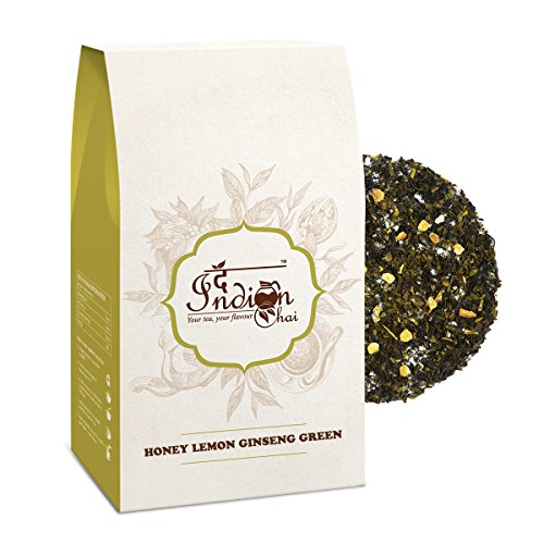 The Indian Chai - Honey Lemon Ginseng Green Tea 100g   Treats Common Cold   Reduces Body Fat   Supports Weight Loss   Nitrogen Filled, Vacuum Sealed for Freshness  