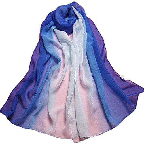 Italily moda sciarpe colore sfumato lungo avvolgere da donna scialle chiffon sciarpa tinta unita semplice scialle pura sciarpa stole donna ragazza coprispalle stola cerimonia