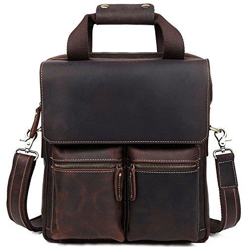 LYQ Bag Dunkelbraun Vintage Style Leder Messenger Satchel Handtasche Mann Business Aktentasche für 13