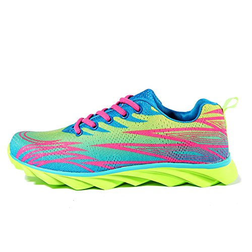 Womens Trainers Gym Walking Trainers Ladies Fitness Lightweight Sports Running Shoes(Fluorescent green)